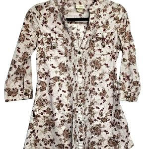 Daytrip Dark Floral  Blouse Unique Roll Tab Sides Size Small